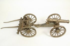 Bronze Display Model Of Cannon And Limber - Solid