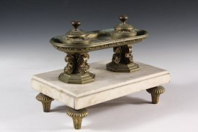 French Bronze & Marble Inkwell - Napoleonic Era Cast