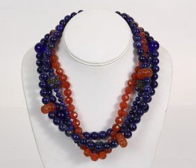 Necklace - Alice Kuo Design Lapis And Carnelian Bead
