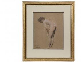 Warren Davis (ny, 1865-1928) - Female Nude, Side View,
