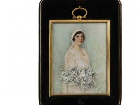 Cased Miniature Portrait - Watercolor Gouache On Ivory