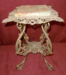 B&h 1751 Ornate Onyx & Brass Table