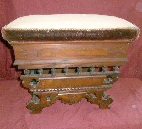 High-style Victorian Walnut Organ Stool