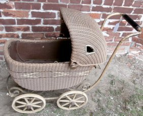 Wicker Doll Carriage Original Paint