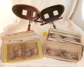 Collection Of Stereoviewers With 160+ Cards
