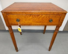 19th C. Tiger Maple 1-drawer Writing Table