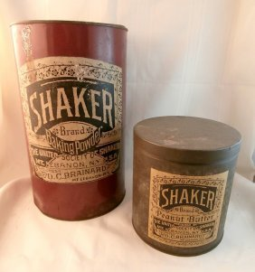 2 Shaker Tins Lebanon, Ny With Labels