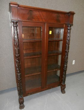19th C. Federal Acanthus Carved China Closet