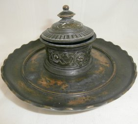 Ornate Victorian Brass Inkwell