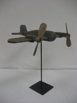Wooden Airplane On Stand In Blue Paint.