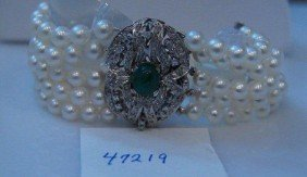 Five Strand Cultured Pearl Bracelet.