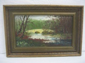 Ohio Landscape Oil On Board Signed Lower Left Weins
