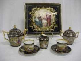 Royal Vienna Cobalt Cabaret Tea Set.