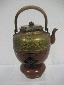 Decorated Bronze Etched Teapot With Original Burne