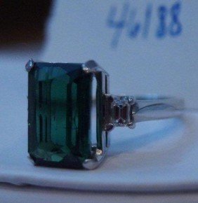Platinum Emerald-cut Torumaline And Diamond Ring.