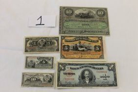 Cuba Currency:  1896 10, 5 And 1 Peso, 5 Centavos; 1