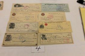 (10) Ohio Checks - 1913 - The Huenefeld Co.; 1914 -