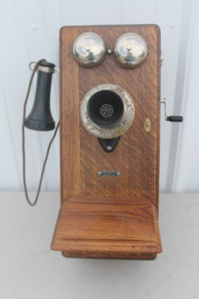 Sears Roebuck Amp Co Oak Crank Wall Telephone With Mouth