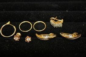 Pair 10k Yellow Gold Jgm Earrings; 14k Yellow Gold
