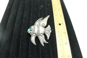 Sterling Silver Beaded Fish Pin With Inset Green