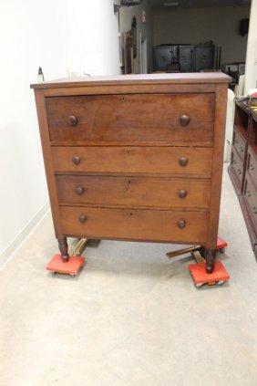 Cherry Four Drawer Butler's Desk On Turned Legs