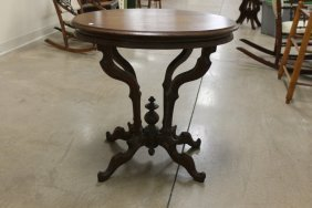 Walnut Eastlake Oval Top Parlor Table