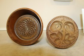 Fine Maple Butter Mold With Gemoetric Floral Stamp And