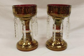 Fine Pair Of Gold Decorated Ruby Flashed Mantle Lustres