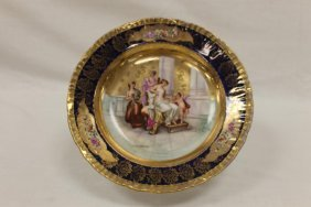 """9 1/2"""" Victoria Carlsbad Austria Shallow Bowl With"""