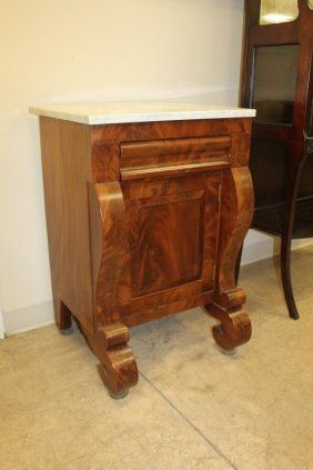 Empire Mahogany Marble Top Commode With Single Drawer,