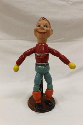 """12 3/4"""" Jointed Wooden """"howdy Doody"""" Figure With Stand,"""