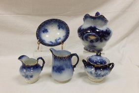 "Flow Blue: La Belle China 7"" Pitcher With Heavy Cobalt"