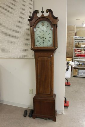 Cherry Grandfather Or Tall Case Clock With Line Inlay