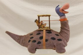 Marx Battery Operated Fred Flintstone Riding Dino The