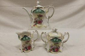 Red Mark Rs Prussia Tea Set In 6-point And Clover Mold,
