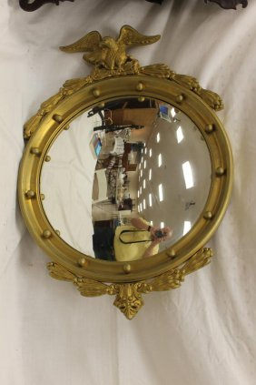Federal Style Convex Mirror In Gilded Frame With Carved