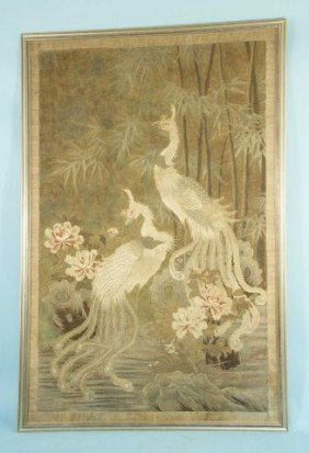 ANTIQUE EMBROIDERED TAPESTRY DEPICTING PEACOCKS