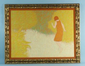 "WILLIAM ANZALONE ""GIRL ON PATH"" PAINTING"