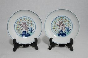 Pair Of Chinese Dou-cai Porcelain Plates With Mark