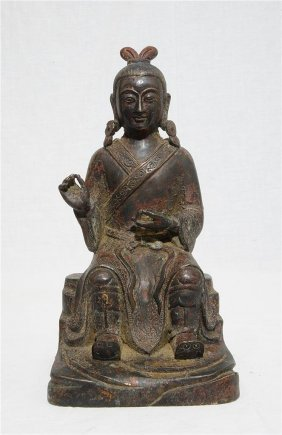 Chinese Antique Bronze Seated Lady Figure