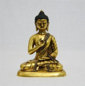 Chinese Statue Of Gilt Bronze Buddha Figure