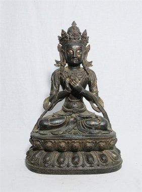 Large Chinese Bronze Seated Kwan-yin With Mark