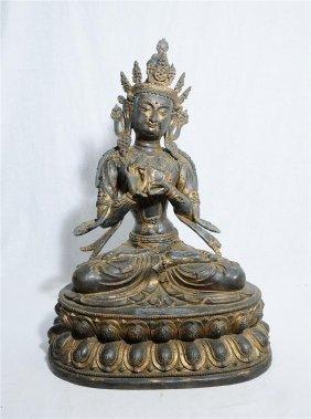 Large Chinese Bronze Seated Kwan-yin