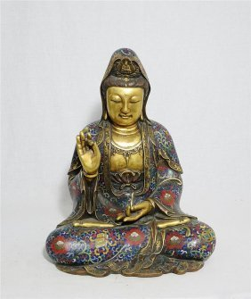 Large Chinese Bronze Seated Statue Of Kwan-yin Figure
