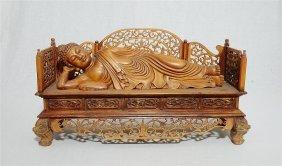 Well Hand Carved Wood Wong Yang Sleeping Kwan-yin