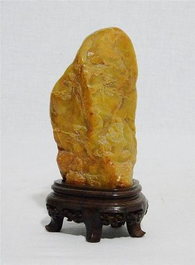 Chinese Carved Shou-shan Stone Boulder