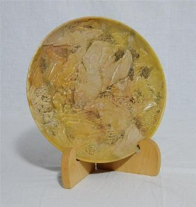 Well Hand Carved Yellow Chinese Shou-shan Stone Plate