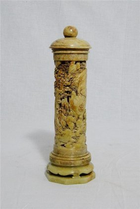 Well Hand Carved Chinese Shou-shan Stone Incense Burner