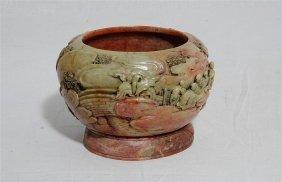Nice Hand Carved Chinese Shou-shan Stone Incense Burner