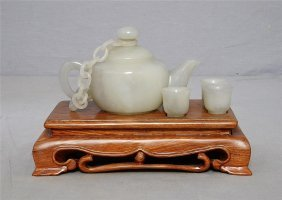 Well Hand Carved Chinese White Jade Teapot And Cups